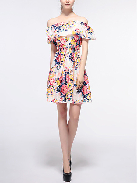 Colorful Plus Size Slim A-Line Printed Boat Collar Ruffle Adjustable Waist Floral Off Shoulder Above Knee Fit & Flare Dress for Casual Party