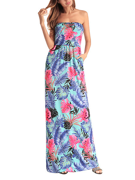 Blue Colorful Plus Size Slim A-Line Printed Wrapped Chest Open Back High Waist Pockets Tropical Maxi Strapless Dress for Casual Beach Party