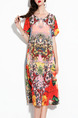 Colorful Plus Size Loose A-Line Printed Round Neck Midi Shift Dress for Casual