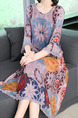 Colorful Plus Size Loose Printed H-Shaped Round Neck Flare Sleeve Linking Lace Midi Dress for Casual Party