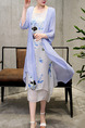 White and Blue Two-Piece Plus Size Loose Round Neck Printed Asymmetrical Hem See-Through Cardigan Midi Dress for Casual Party