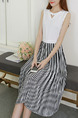 White and Black Chiffon Slim Pleated Contrast Linking Stripe Round Neck Knee Length Dress for Casual Party
