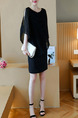 Black Plus Size Slim Round Neck Bat Sleeve Off-Shoulder Over-Hip Shift Above Knee Dress for Casual Party