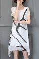 White Chiffon Loose Printed A-Line Round Neck Asymmetrical Hem Double Layer Above Knee Dress for Casual Party