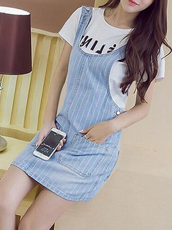 Blue Denim Slim A-Line Sling Stripe Pockets Buttons Side Shift Above Knee Dress for Casual Party