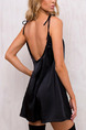 Black Slim A-Line Sling Off-Shoulder Band Shoulder Slip Above Knee Backless Shift Dress for Casual Party Nightclub