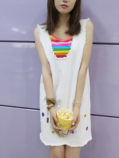 White Colorful Two-Piece Loose Rainbow Sling V Neck Open Back Shift Above Knee Dress for Casual Party