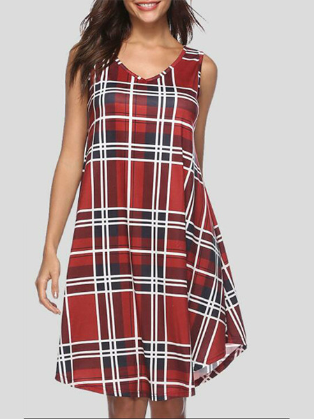 Red Grid Loose Grid Asymmetrical Knee Length Shift Dress for Casual Party Evening