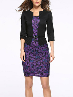 Black and Purple Seem-Two Slim Linking Printed Over-Hip Sheath Dress for Party Evening Office