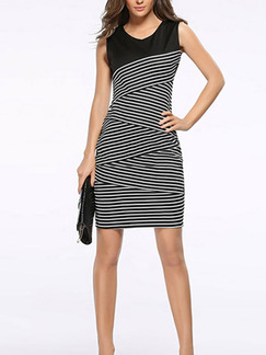 Black and White Plus Size Slim Contrast Linking Stripe V Neck Over-Hip Furcal Back Bodycon Above Knee Dress for Casual Party Office