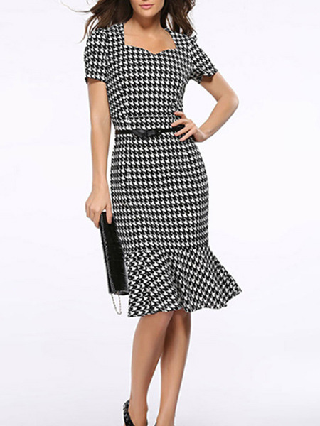 Black and White Plus Size Slim Square Collar Houndstooth Over-Hip Fishtail Sheath Knee Length Dress for Casual Party Office