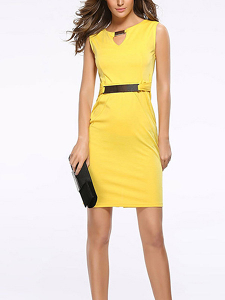 Yellow Plus Size Slim Round Neck Metal Buckles Furcal Back Sheath Above Knee Dress for Casual Party Office