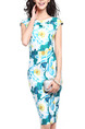 Colorful Plus Size Slim Printed Knot V Neck Over-Hip Bodycon Knee Length Floral Dress for Casual Party Office