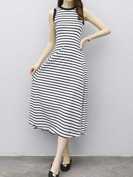 Black and White Plus Size Slim A-Line Contrast Stripe Round Neck Midi Dress for Casual Party