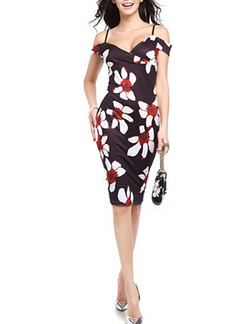 Black White and Red Plus Size Slim Printed Sling Off-Shoulder Over-Hip Bodycon Knee Length Floral Slip Dress for Casual Party Evening
