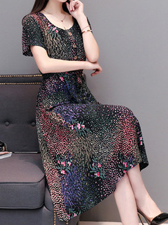 Colorful Slim Printed Midi Fit & Flare Plus Size Dress for Casual Party