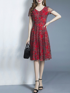 Red Colorful Slim Printed Knee Length Fit & Flare Dress for Casual Party