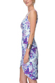 Blue Colorful Slim Printed Sling Above Knee Floral Slip Dress for Casual Party Beach