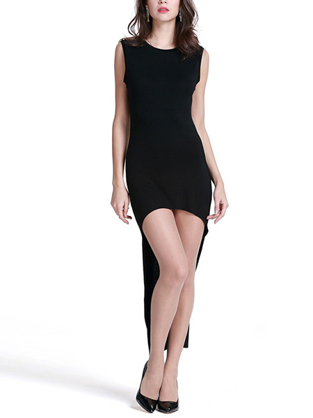 Black Bodycon Asymmetrical Hem Above Knee Plus Size Petite Dress for Party Evening Nightclub Cocktail