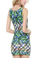 Colorful Bodycon Printed Above Knee Plus Size Petite Dress for Party Evening Nightclub