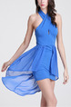 Blue Bodycon Asymmetrical Hem Above Knee Plus Size Petite Dress for Party Evening Nightclub