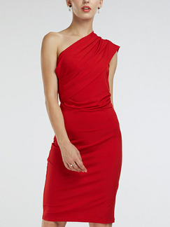 Red Bodycon Off-Shoulder Knee Length Sheath Plus Size Knee Length Dress for Party Evening Nightclub