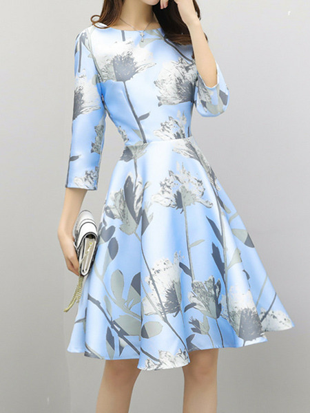Light Blue Colorful Slim A-Line Printed Above Knee Fit & Flare Plus Size Dress for Party Evening Nightclub