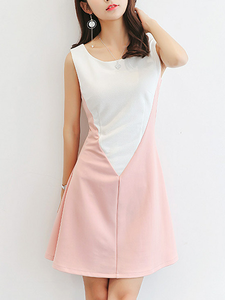 White and Pink Slim Contrast Linking Above Knee Plus Size Dress for Casual Party