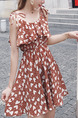 Brown Colorful Slim Printed Off-Shoulder Above Knee Fit & Flare Slip Plus Size Dress for Casual Party