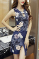 Dark Blue Ccolorful Bodycon Printed Furcal Above Knee Floral Dress for Casual Party Nightclub