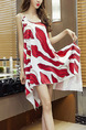 White and Red Loose Printed Above Knee Shift Dress for Casual Party