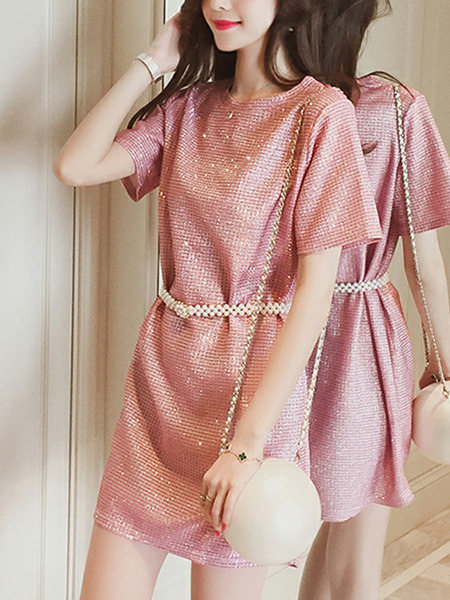 Pink Slim Bright Silk Above Knee Shift Dress for Casual Party