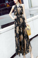 Black Colorful Slim Printed Open Back Maxi V Neck Dress for Casual Party Evening