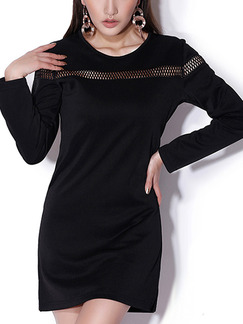 Black Slim Cutout Above Knee Shift Long Sleeve Dress for Casual Party Nightclub