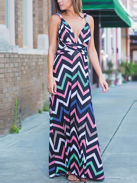 Colorful Slim Printed Maxi V Neck Slip Dress for Cocktail Party Evening Ball
