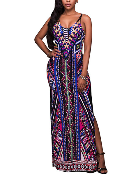 Colorful Slim Printed Furcal Maxi Slip Bodycon Dress for Evening Cocktail Prom Ball
