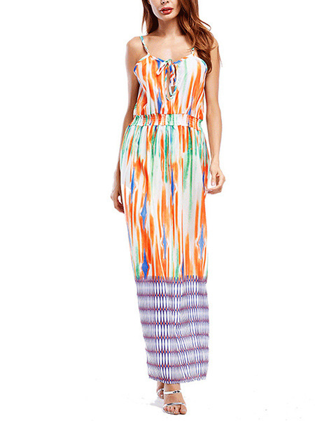 Colorful  Slim Printed Adjustable Waist Maxi Slip Dress for Cocktail Prom Ball