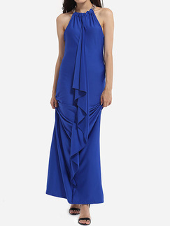 Royal Blue Slim Linking Maxi Halter Plus Size Dress for Party Evening Cocktail Prom Ball