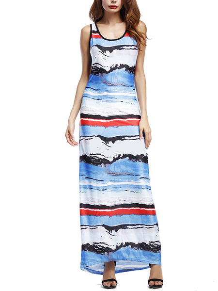 Colorful Slim Printed Maxi Dress for Casual