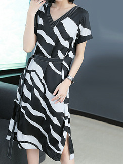 Black and White Slim Stripe Printed Knee Length V Neck Plus Size Dress for Casual Party Office