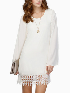 White Loose Lace Above Knee Long Sleeve Plus Size Shift Dress for Casual Party Evening