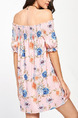 Pink Colorful Loose Printed Off-Shoulder Above Knee Shift Tube Plus Size Floral Dress for Casual Party