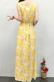 Yellow Colorful Slim Printed Maxi Floral Dress for Casual