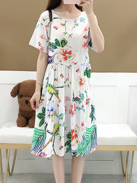 White Colorful Loose Printed Knee Length Shift Floral Dress for Casual Party