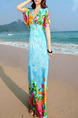 Blue Colorful Slim Printed Maxi Floral V Neck Dress for Casual Beach