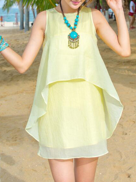 Yellow Loose Fishtail Above Knee Dress for Casual Beach