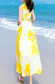 Yellow and White Slim A-Line Printed Maxi Floral Dress for Casual Beach