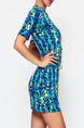Colorful Bodycon Printed Above Knee  Dress for Casual Party Nightclub
