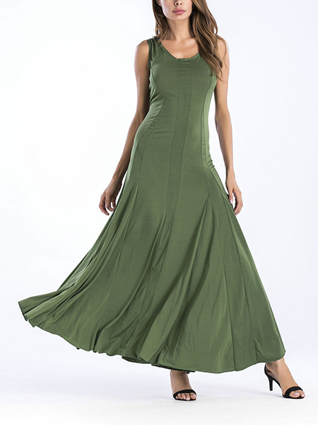Green Slim Pleated Maxi Plus Size Dress for Party Evening Cocktail