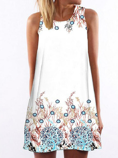 White Loose Located Printing Above Knee Shift Plus Size Dress for Casual Party